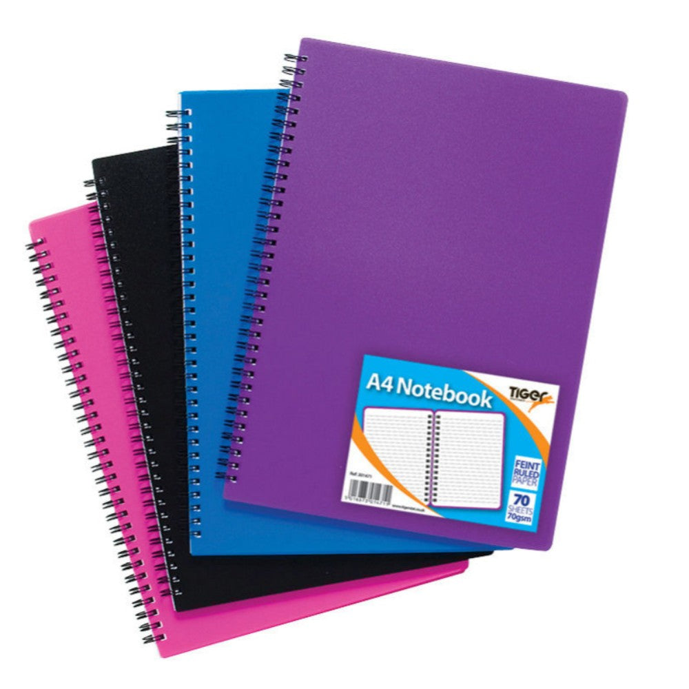 5 x A4 Twinwire Polypropylene Cover 70 Sheet Notebook