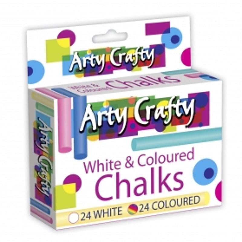 White & Coloured Chalk (48 Pack)