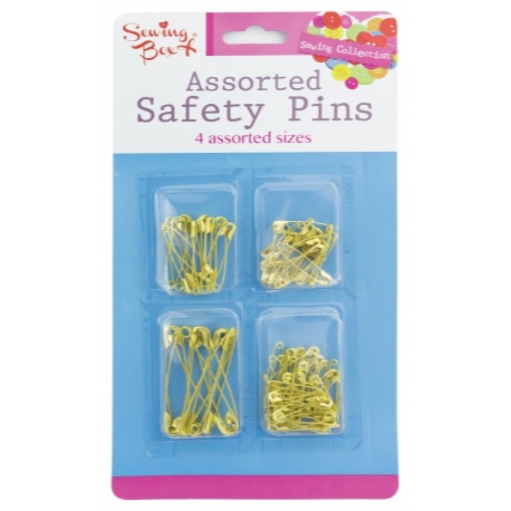 100 Pack Assorted Size Gold Safety Pins