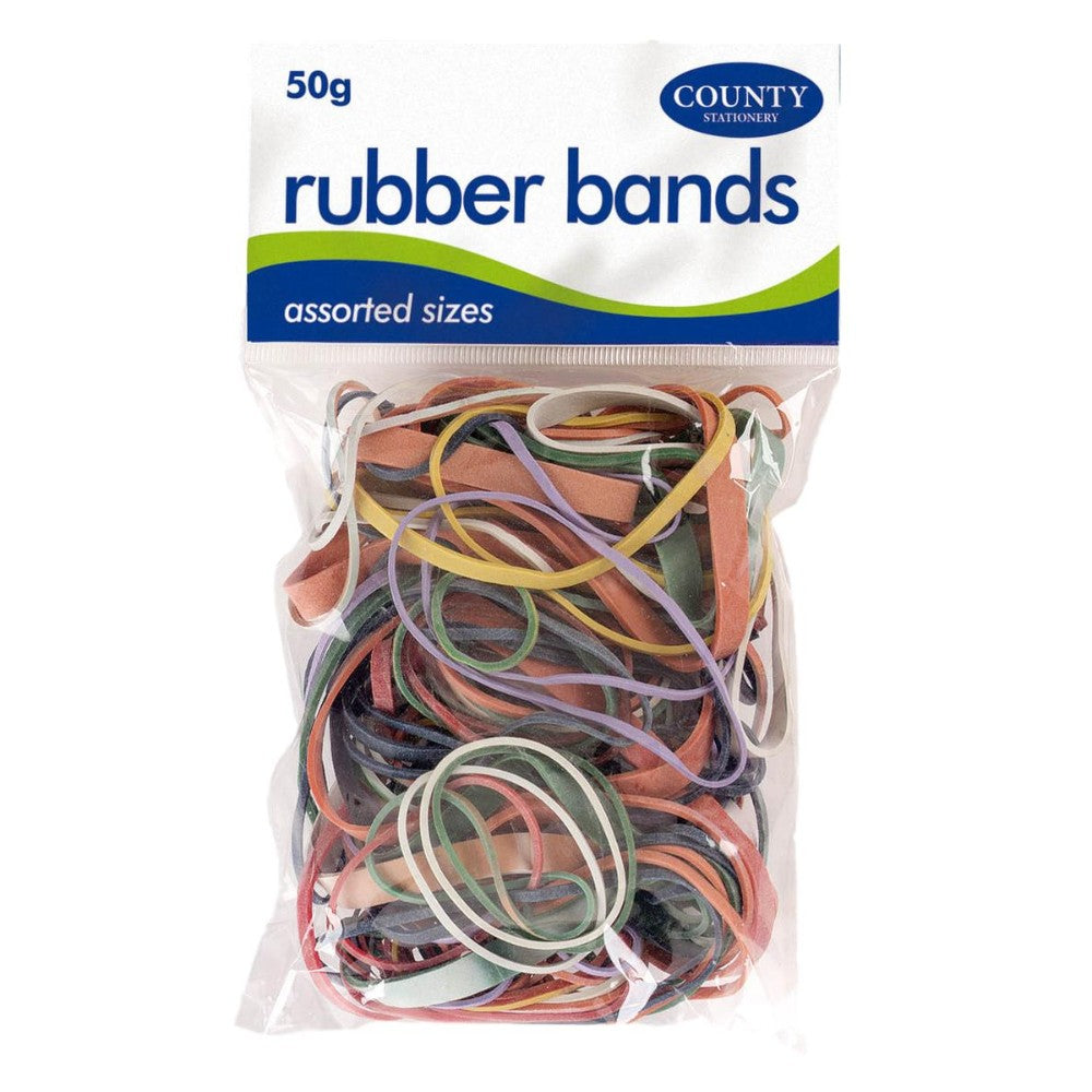 Coloured Rubber Bands 50g