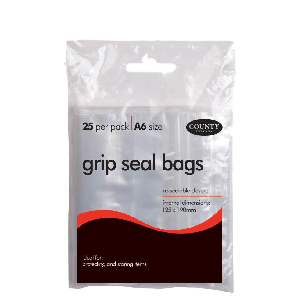 25 A6 County Grip Seal Bags