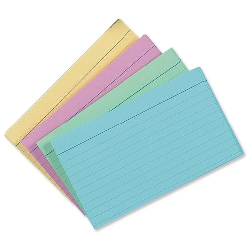 "Pack Of 100 Assorted Colorued Record Cards 5x3"" 127x76mm"