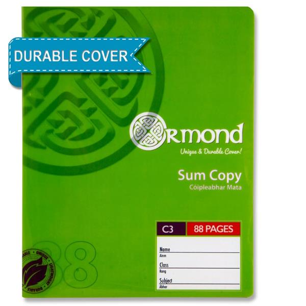 88 Pages C3 Durable Cover Sum Copy Exercise Book by Ormond
