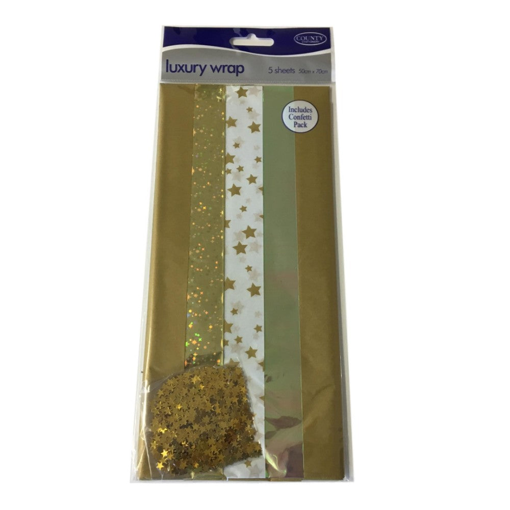 Pack of 5 Gold Coloured Luxury Gift Wraps 50 x 70cm
