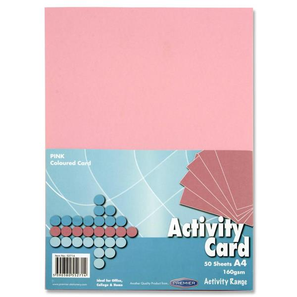 Pack of 50 Sheets A4 Pink 160gsm Card by Premier Activity