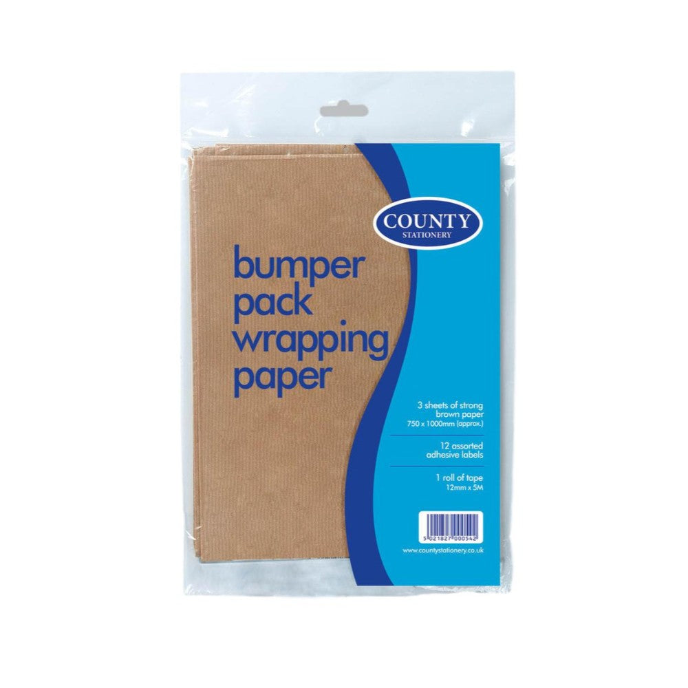 Brown Wrap 3 Sheets, Labels & Tape