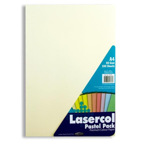 Pack of 100 Sheets A4 80gsm Pastel Assorted Colour Paper by Lasercol