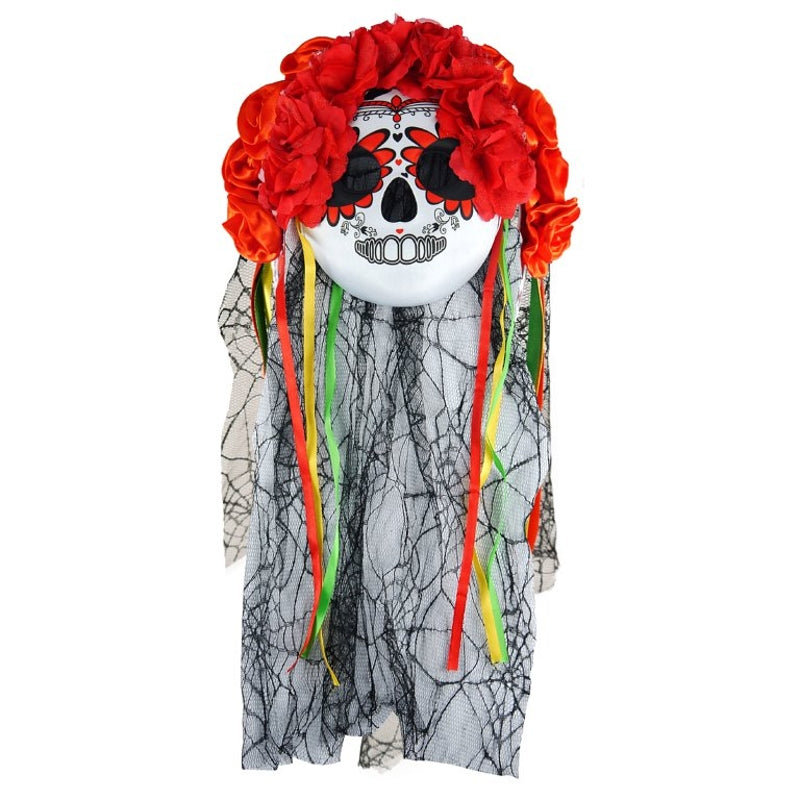Day of the Dead Mask with Veil and Flowers for Halloween Party