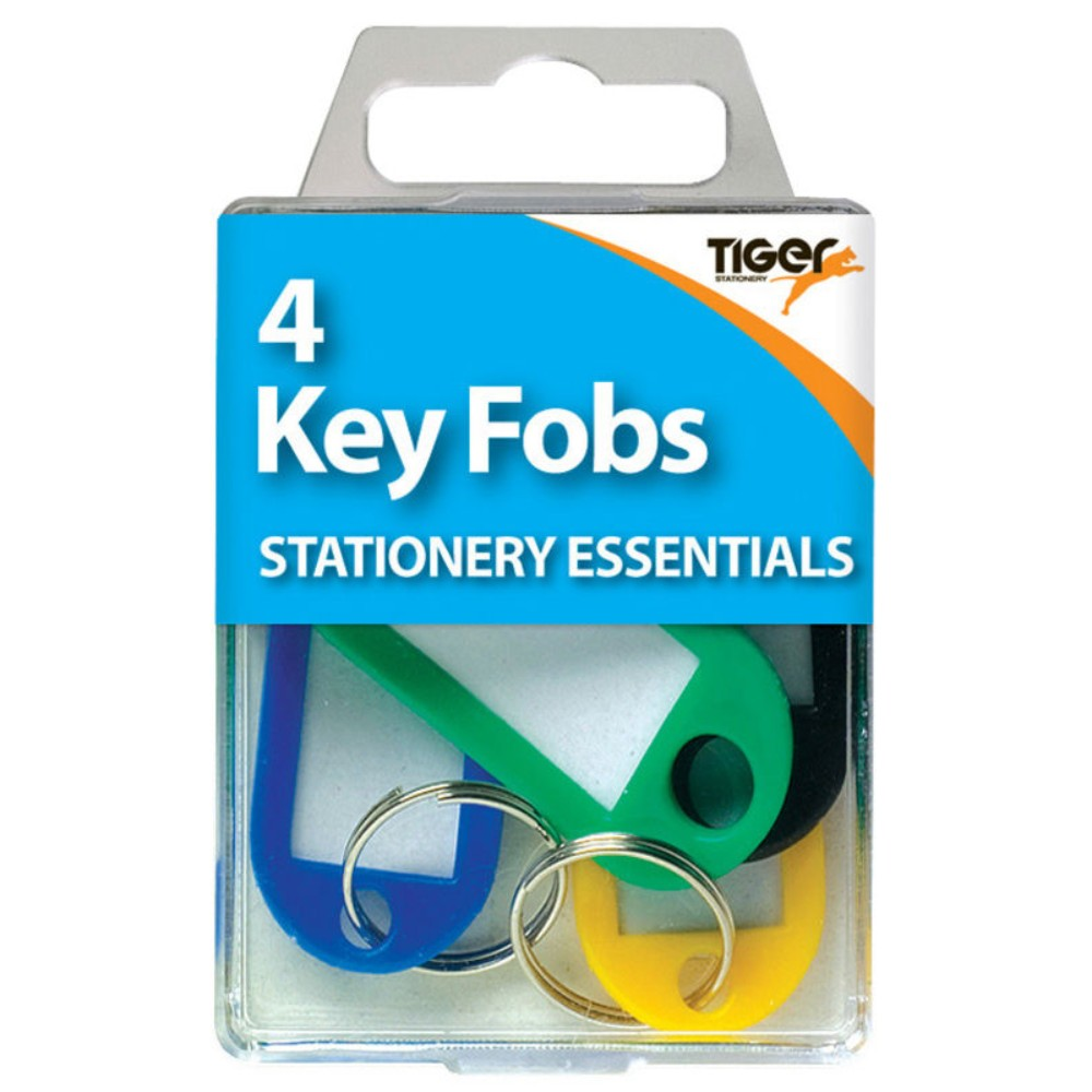 Pack of 4 Assortred Colour Key Fobs