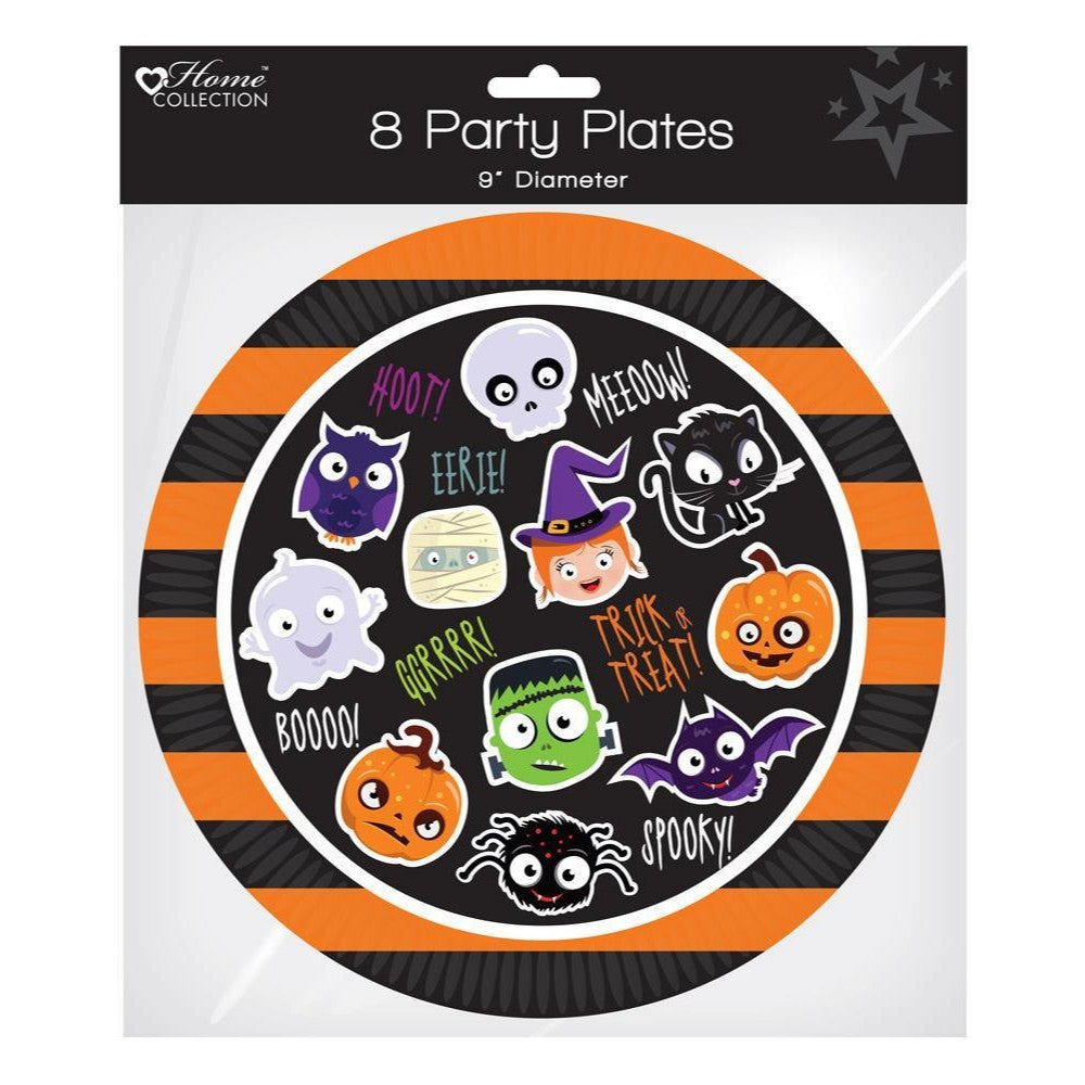 "Pack of 8 Halloween Party Plates 9"" Diameter"