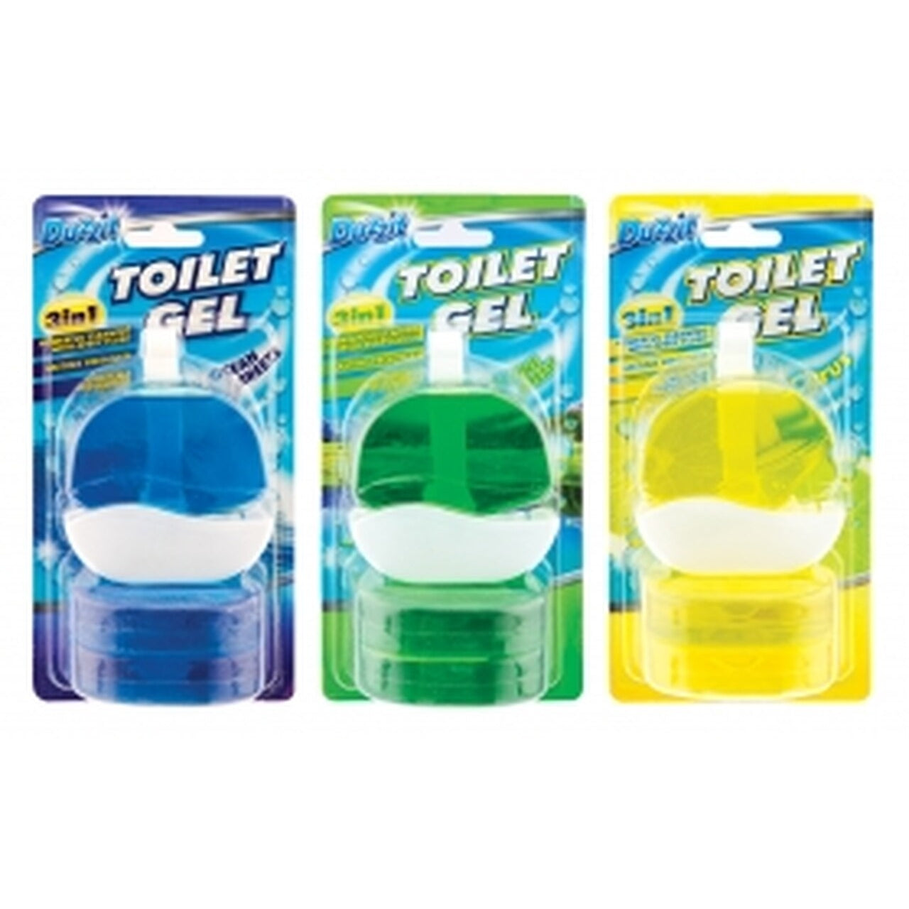Pack of 3 Duzzit Liquid Toilet Block&Holder