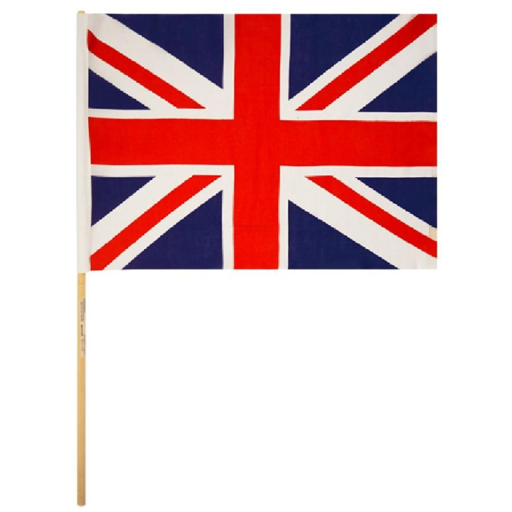 Union Jack Nylon Hand Flag with 62cm Wood Stick