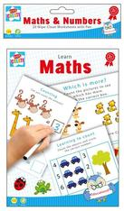Pack of 20 A5 Wipe-Clean worksheets with pen - Learn Maths
