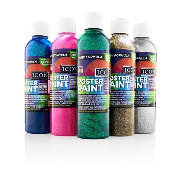 300ml Silver Glitter Poster Paint by Icon Art
