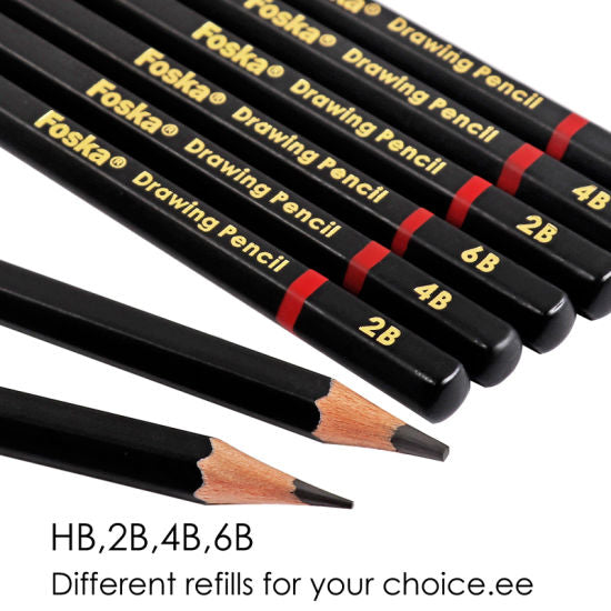 Pack of 12 6B Wooden Drawing Pencils