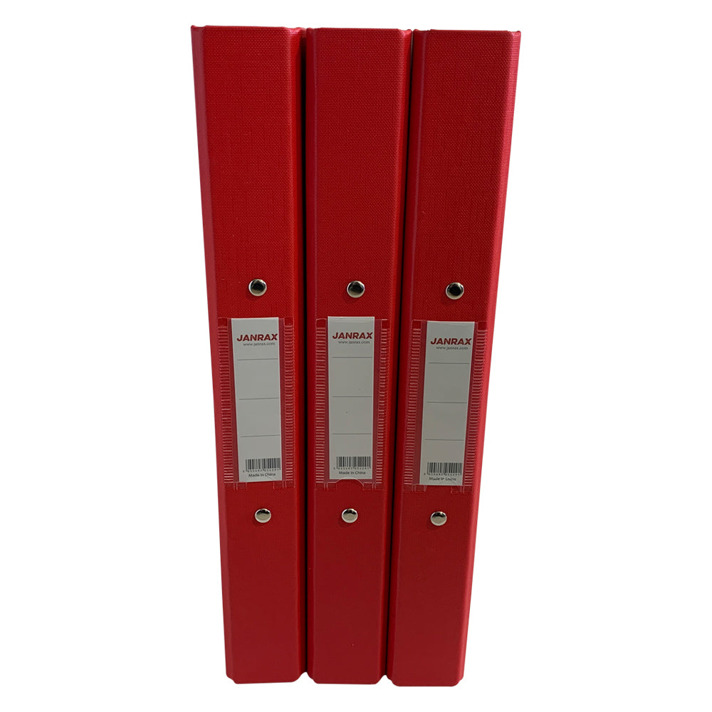 Pack of 20 A4 Red Paper Over Board Ring Binders by Janrax