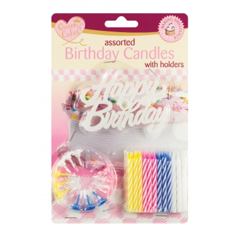 Assorted Birthday Candles with Holders