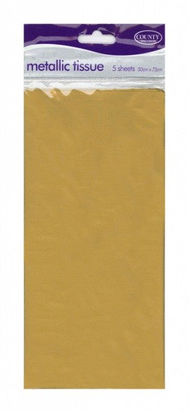 Pack of 5 Gold Metallic Tissue Paper 50x75cm