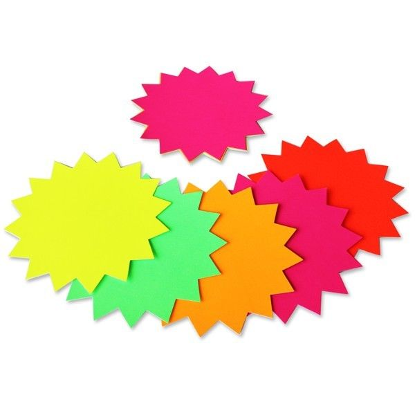 12 Fluorescent Star Shapes 152mm