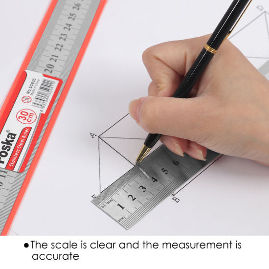 30cm Double Sided Stainless Steel Ruler