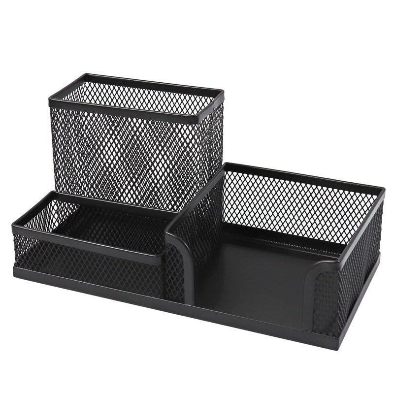 Black Mesh Desk Combination Stationery Holder - Metal Multi Desk Tidy