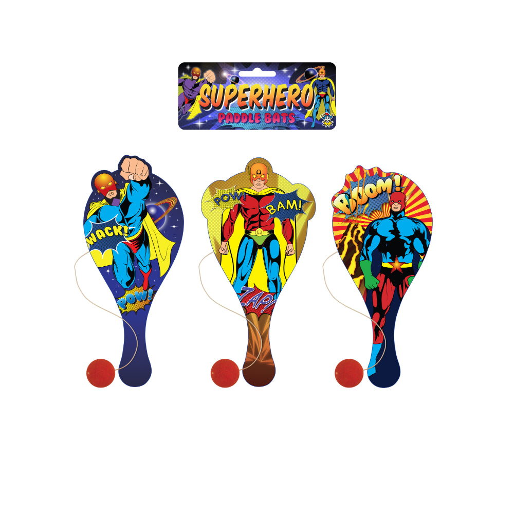 Superhero Wooden Paddle Bat and Ball Game