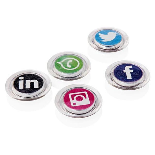 Pack of 5 for 30mm Round Social Media Symbols Magnet by Premier Office