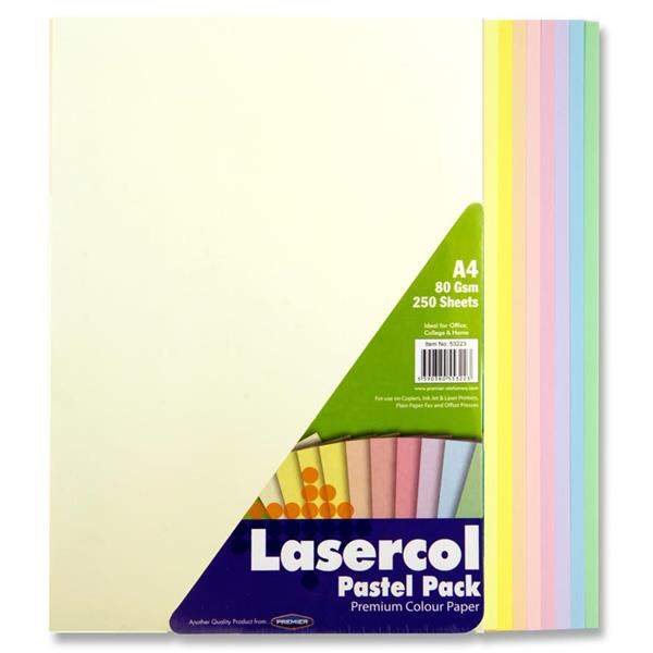 Pack of 250 Sheets A4 Assorted Pastel Coloured 80gsm Paper by Lasercol