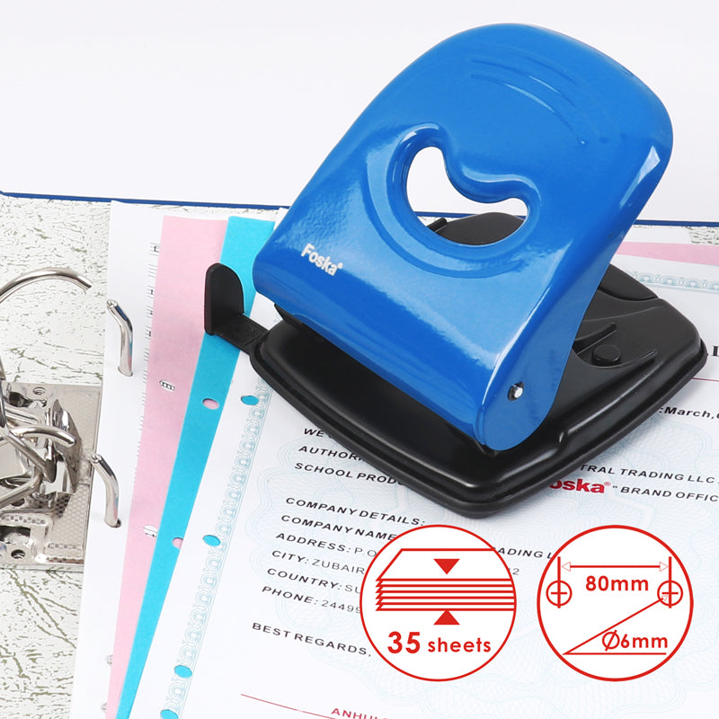 Metal Black Medium Duty Hole Punch with Paper Measure Indicator