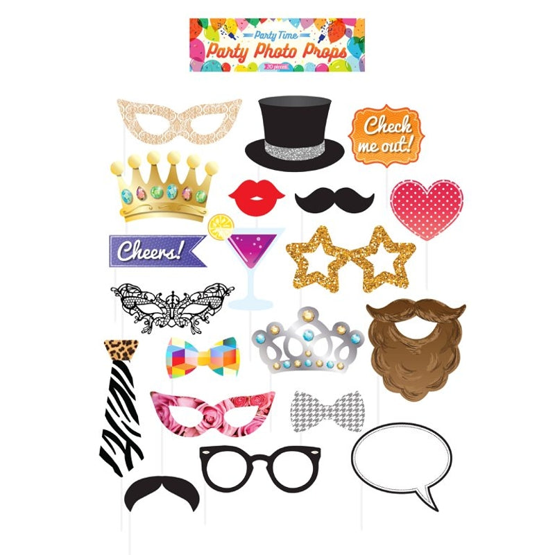 Pack of 20 Assorted Party Photo Booth Props With Sticks