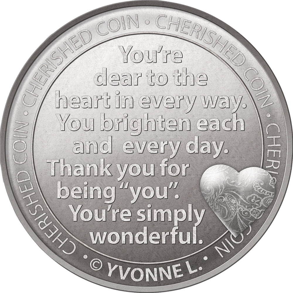 With Love Cherished Lucky Coin Engraved Message Keepsake Gift