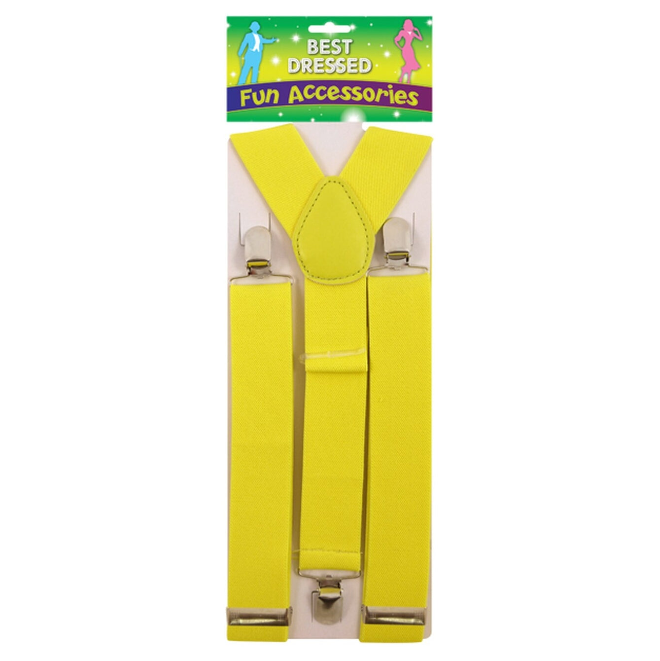 X Shape Trouser Braces Neon Yellow with Strong Metal Clips
