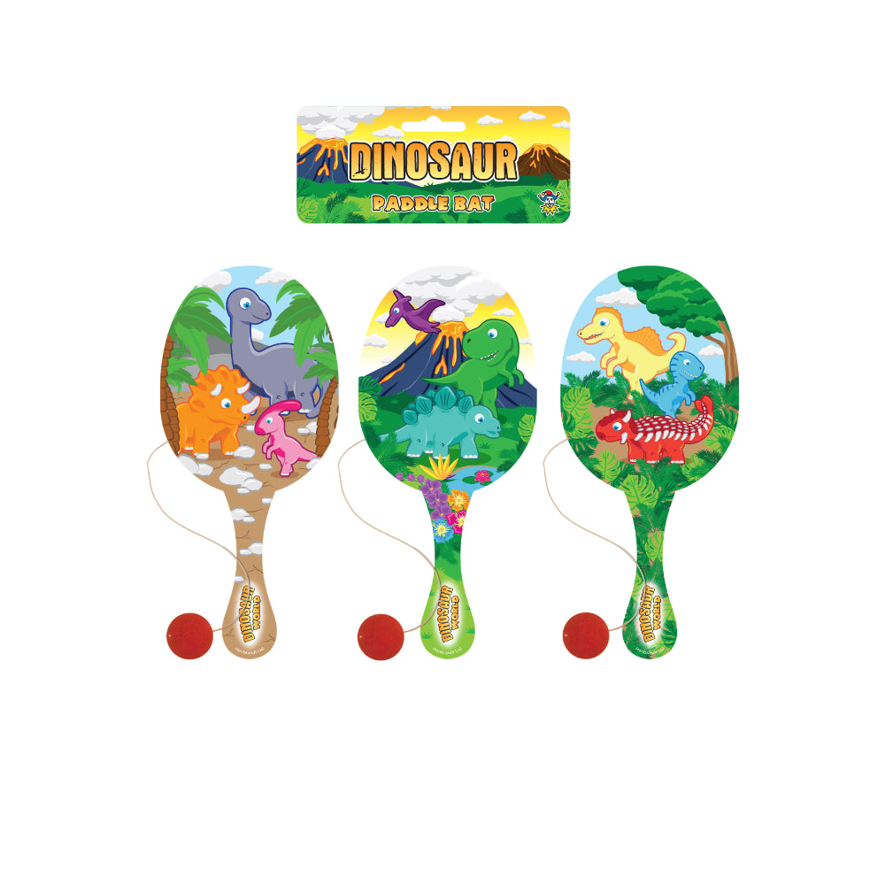 Dinosaur Wooden Paddle Bat and Ball Game