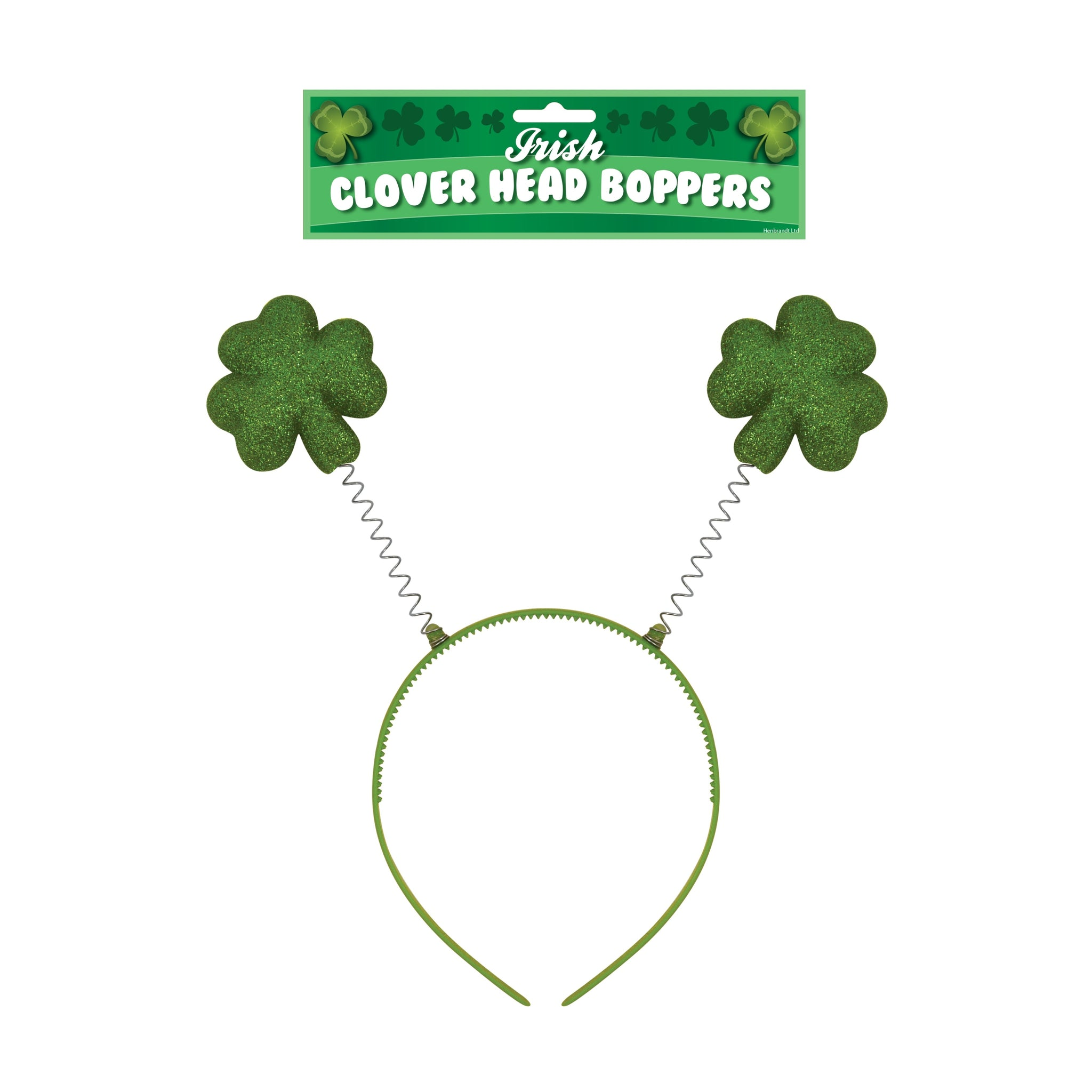 Green Glitter Shamrock St Patrick's Day Head Bopper Headband