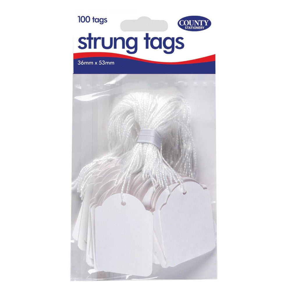 Pack of 100 Strung Tags 36 x 53mm