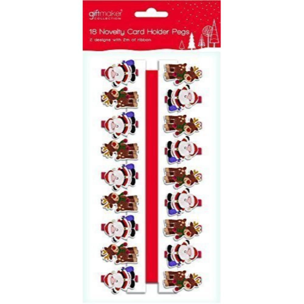 Pack of 18 Wooden Novelty Santa & Reindeer Christmas Card Holder Pegs