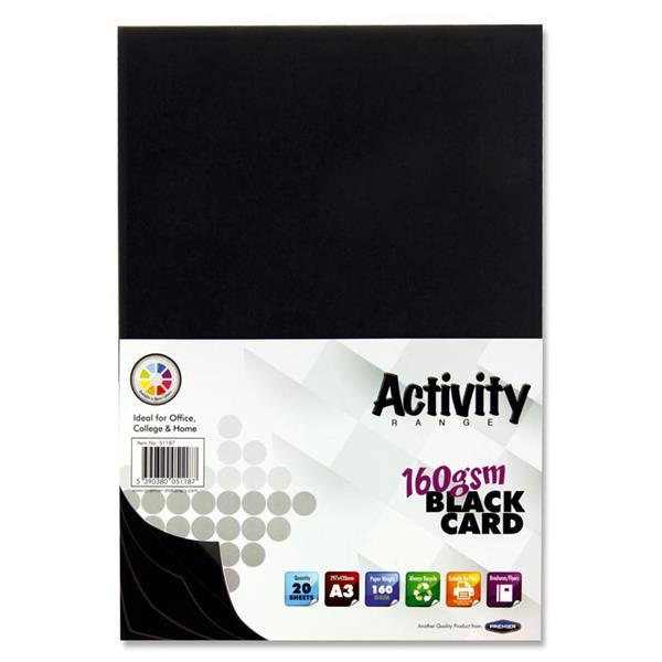 Pack of 20 Sheets A3 Black 160gsm Card by Premier Activity
