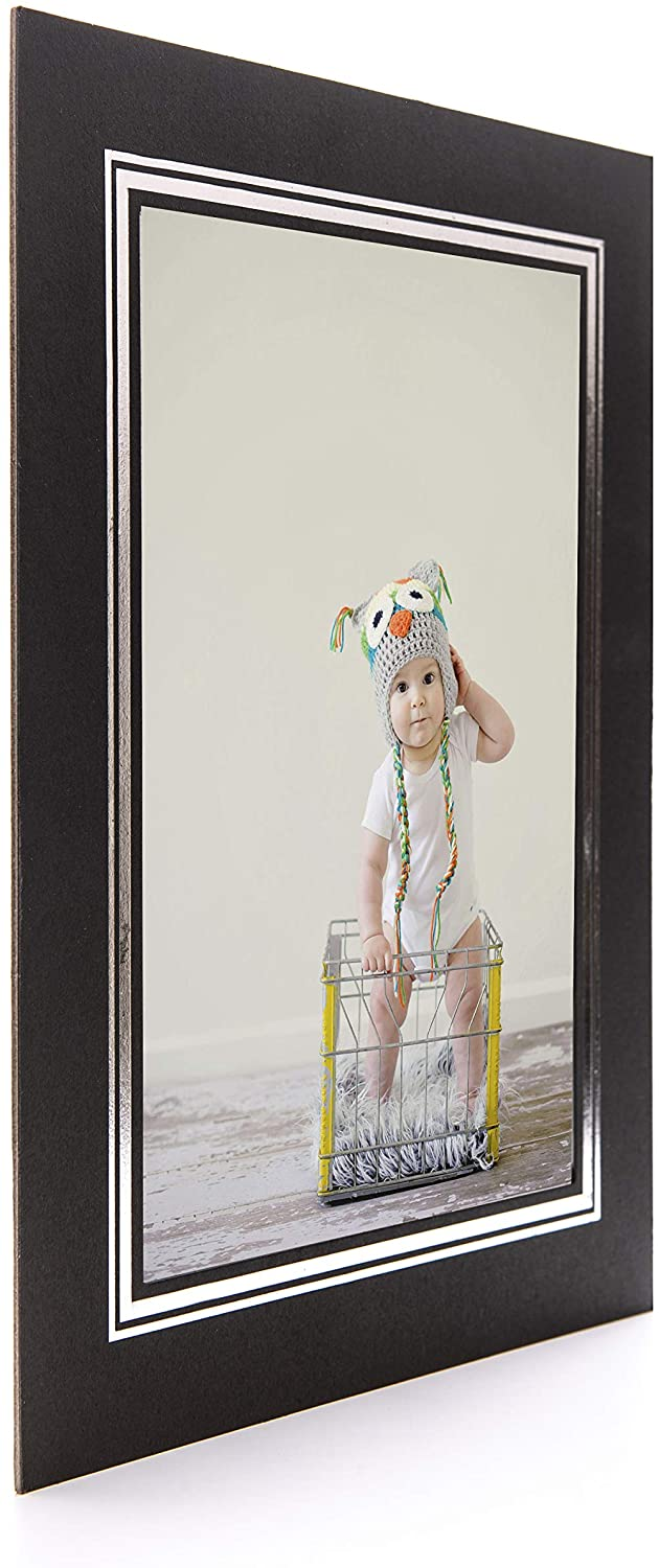 50 x Black Cardboard Strut Mount Photo Frame A4 21x30cm with Silver Border