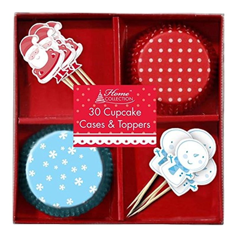 30 Christmas Cupcake Cases & Toppers - Snowman And Santa Claus Design
