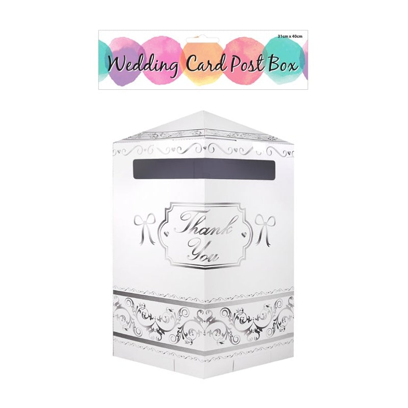 White Wedding Card Thank You Post Box