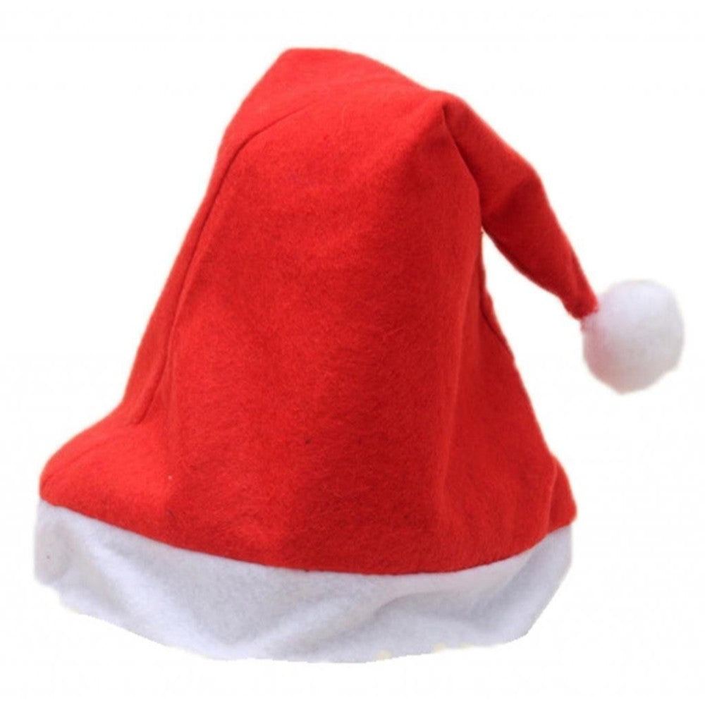 Adult Santa Hat with Bobble and Trim