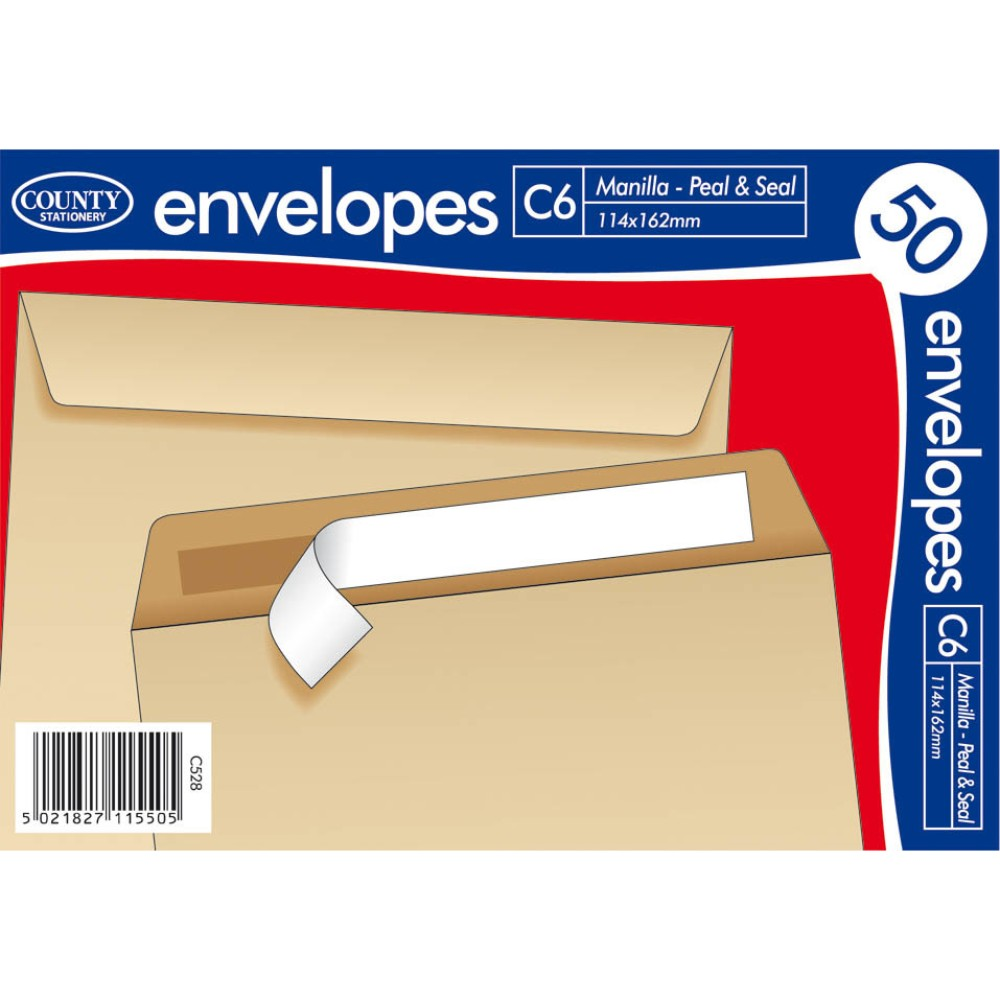 Pack of 50 C6 Peel & Seal Manilla Envelopes