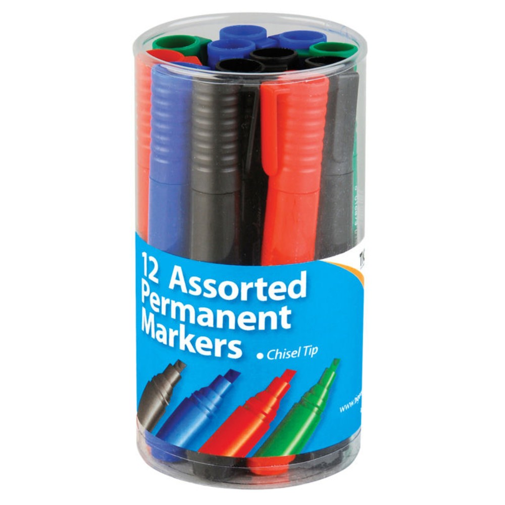 Pot of 12 Chisel Tip Permanent Assorted Colour Marker Pens