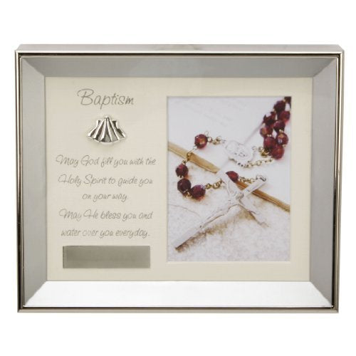 Personalised Baptism Brushed Silverplated Frame with Verse & Plaque to Engrave (No Personalisation)