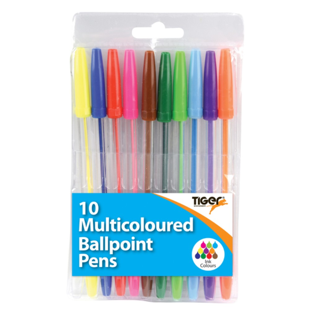 Pack of 10 Multicoloured Ball Pens