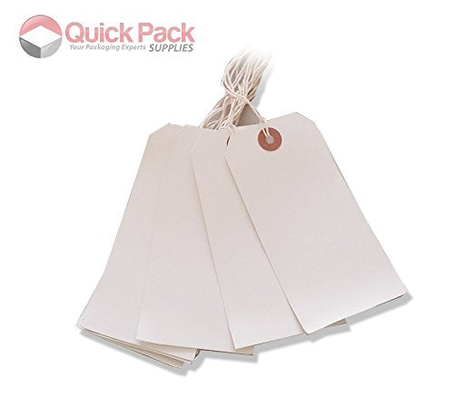 250 Large Reinforced White Strung Tags Luggage Labels 120 x 60mm