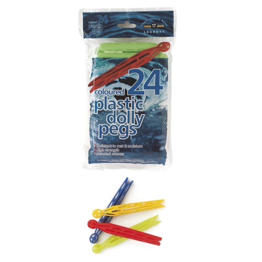 Coloured Plastic Dolly Pegs (24 Pack)