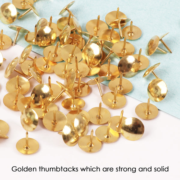 Box of 100 Brass Golden Colour Thumb Tacks - Push Pins