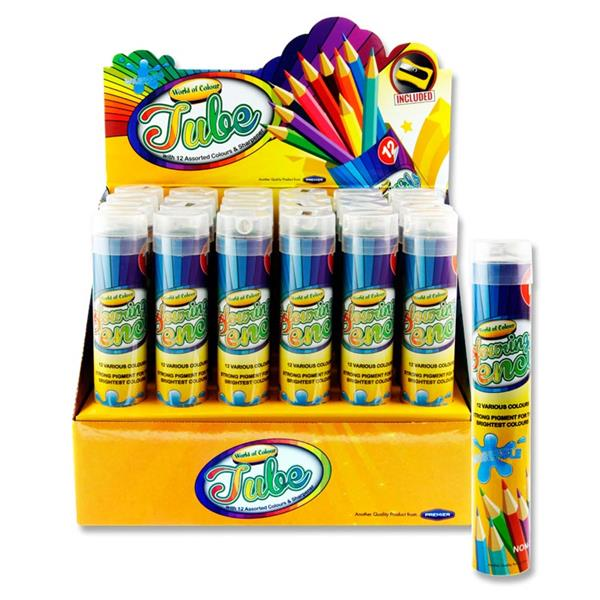Tube of 12 Colouring Pencils & Sharpener by World of Colour