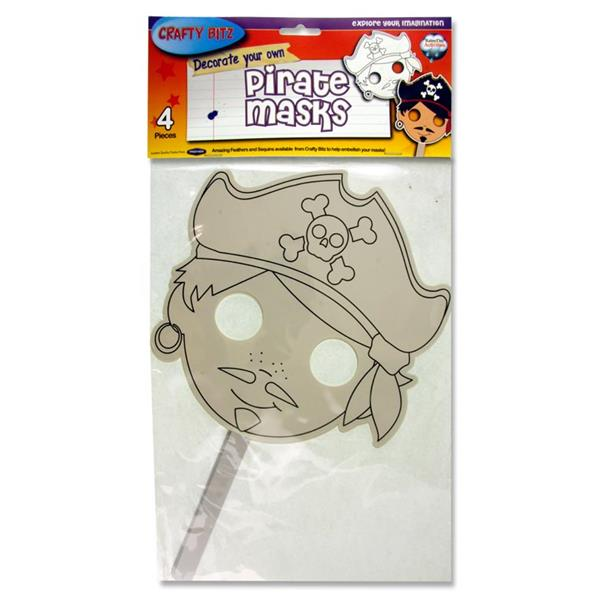 Pack of 4 Decorate Your Own Pirate Masks by Crafty Bitz
